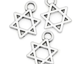 "5 Small ""Star of David""  Charms"