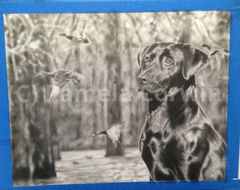 "Custom graphite and charcoal drawing of your hunting dog: 11x14""  original personalized drawing of your dog with ducks, deer, phesants etc"