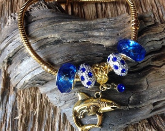 Gold and blue shark bracelet: elegant shark bracelet for marine or fisheries biologist