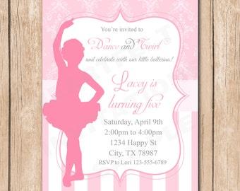 Ballerina Birthday Invitation | Silhouette, Damask - 1.00 each printed or 10.00 DIY file