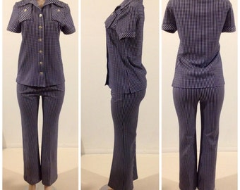 True Vintage  Navy And White Checkered Board 2P Pants/ Shirt OutFit Pantsuit