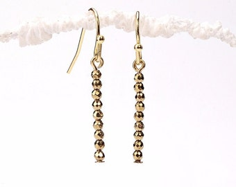 Gold Hematite Rondelle Bar Earrings