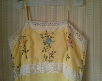 Vintage Yellow and Embroidered Flower and White Lace Peasant Maxi Dress Made in USA