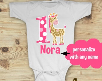 Pink Giraffe 1st Birthday Girl Onesie Design, Custom Made to Order from Mary and Peanut Kids, Personalized