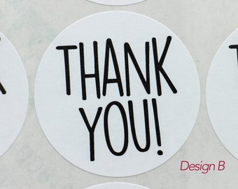 """Sticker Seals, THANKS, THANK YOU, Labels, 2""""  Round White Labels, 20 Stickers, Treat bags, Wedding favors, Packaging seals"""