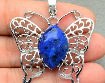 Blue Kiwi Jasper White Copper Butterfly Pendant    Blue Butterfly Pendant  Matching Beads Listed