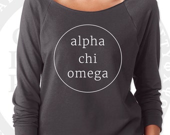 Alpha Chi Omega Pullover Sweater Yoga Shirt | Soft Lightweight Wide Crew Neck with Raw Edge for Layering | Alpha Chi Sorority Sweatshirt