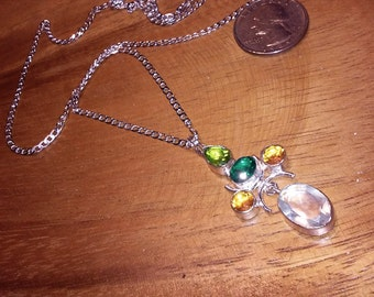 citrine peridot and crystal pendant necklace sterling silver chain