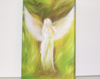 """Canvas art angel stretched on wooden frame: """"The dreaming tree"""" , contemporary painting, green artwork"""