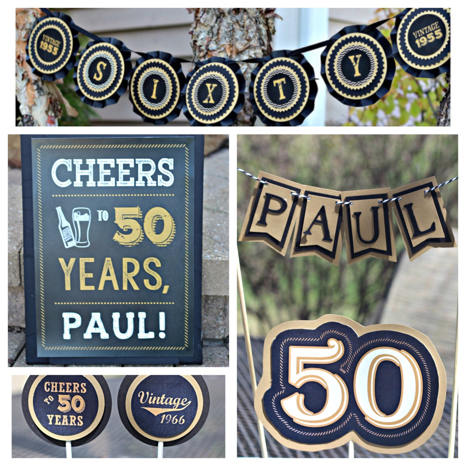 50th Birthday Party Decorations 4 piece party decor box