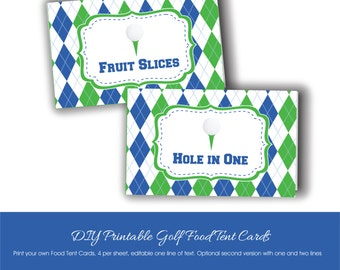 Golf Party Food Tent Cards to Print at Home, Printable Golf Party Tent Cards with Custom Text, Editable Golf Food Labels, Golf Party Tags