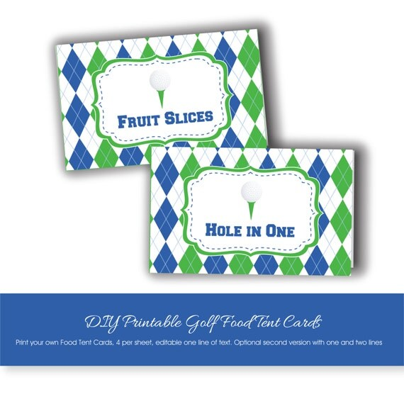 Golf Party Food Tent Cards To Print At Home Printable Golf