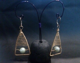 Gold Woven Triangle Earrings