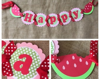 Watermelon Birthday Banner, Watermelon Party Banner, Picnic Birthday Banner, Watermelon Party Decorations, Summer Birthday Decorations