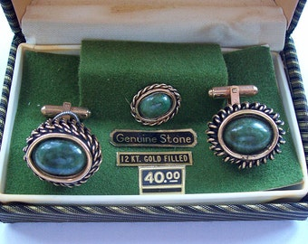 Vintage 1960's SIMMONS Gold Filled Cufflinks and Tie Tack Set – Made with Genuine Stones - Men's Jewelry - Birthday Gift -