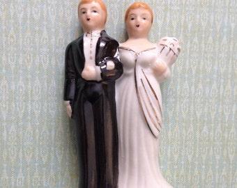 Vintage Wedding Cake Topper Bride and Groom Art Deco