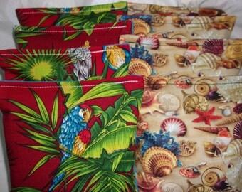 8 ACA Regulation Cornhole Bags -  Tropical Beach Seashells and Palm Trees with Birds