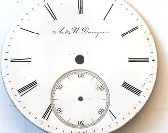 A. & U. Bourquin Watch Face, Face Only, Pocket Watch Face, Watch Parts Repairs Replacement, Watch Face with Roman Numerals