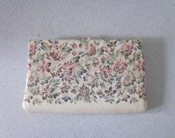 "1960s Beige Tapestry Clutch by ""HL U.S.A."""