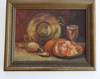 1910   impressionist still life oil painting on board fruit signed