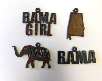 Alabama (3) or Alabama related charms made out of rusted metal choose any three (3)