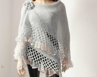 Knit Crochet Shawl Mohair Grey Silver/ Triangle Shawl silver