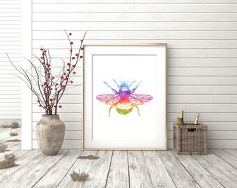 Bee Print - Watercolor Bee Print - Bee Art - Bee Watercolor Art - Bee Wall Art - Bumble Bee Art Print - Bee Decor - Watercolor Prints