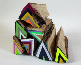 Medium Neon Lumberjack firewood sculpture painting art colorful bright modern
