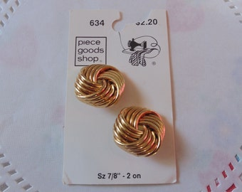Vintage Gold Fancy Buttons New On Card Sewing Notions Sewing Buttons