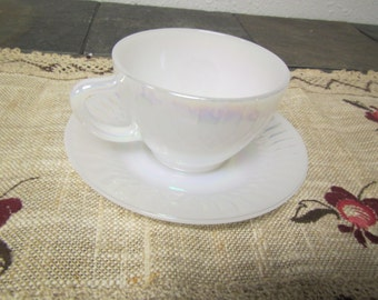 vintage Federal Glass Co. Moonglow White Pearlized TEA CUP and SAUCER *  1960s