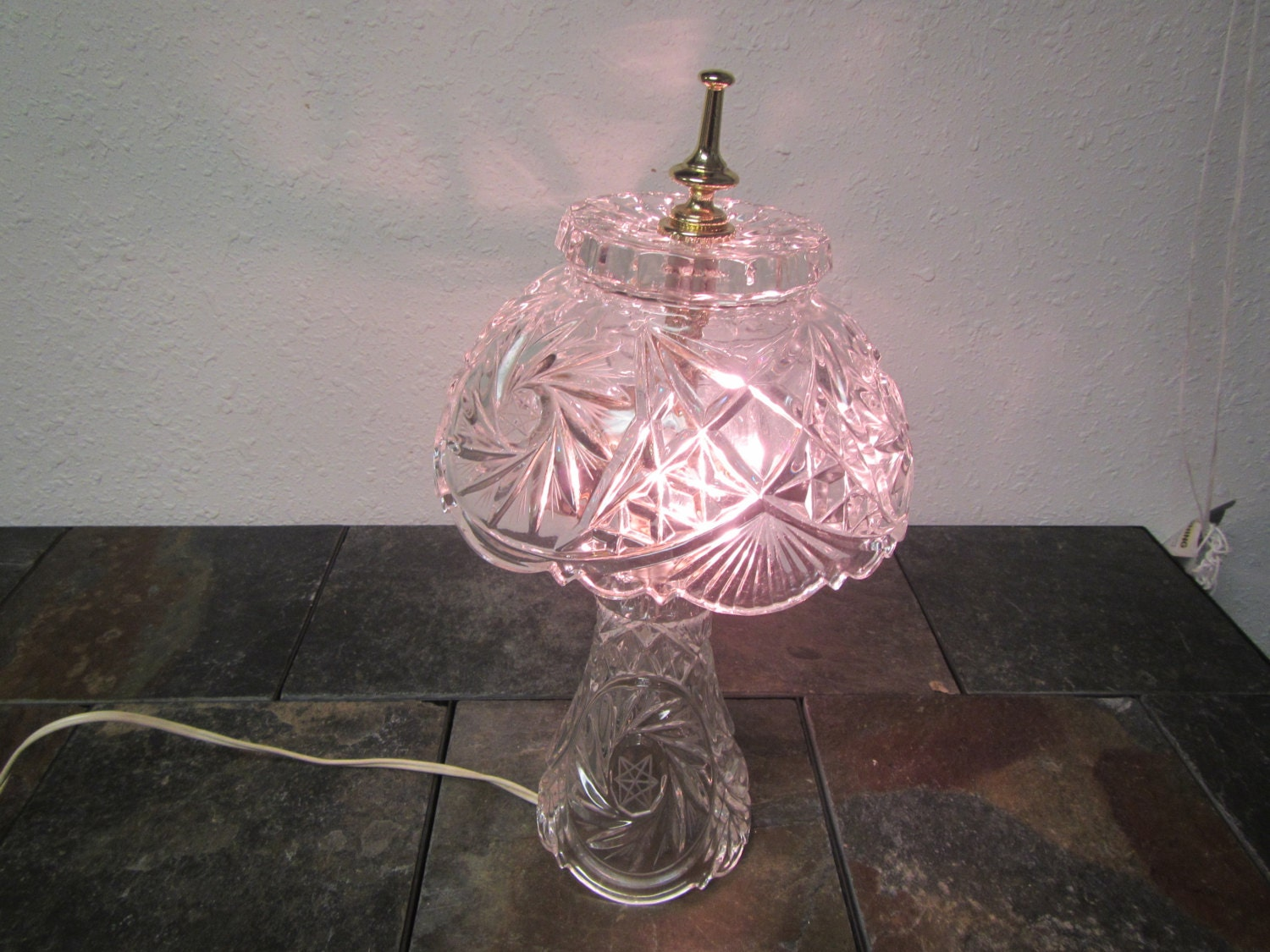 Vintage Lead Crystal Table Lamp With Crystal Shade Night