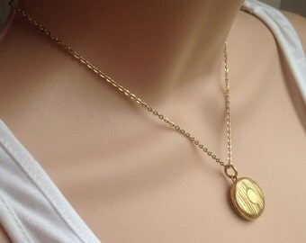 Antique 60s brass rolled gold pendant locket necklace