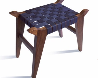 Walnut or Ash Wood & Cotton Webbing Stool Bench from my Valhalla Series of Fine Furniture - Arvid