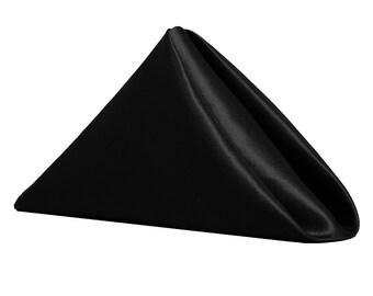 Black Napkin for Weddings Pack of 10 | Wholesale Satin Napkins