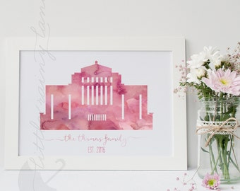 LDS Temple art - Customizable - Cardston Alberta Temple - Printable