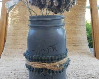 SALE! Rustic Mason Jar, Painted Mason Jar, Rustic Wedding Decor, Baby Shower Decor, Gray Mason Jar, Shabby Chic Decor