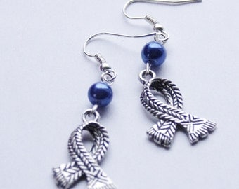 Scarf Earrings Silver Scarf Earrings Blue Pearl Earrings Geek Earrings Winter Scarf Jewelry Holiday