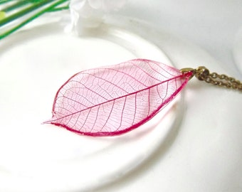 Skeleton leaf necklace - hot pink - antique bronze - botanical, nature inspired jewellery handmade in the UK