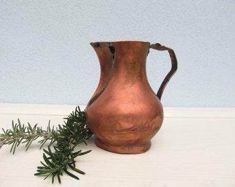 Antique Farmhouse COPPER PITCHER Primitive Rustic Vase Home Decor 1910