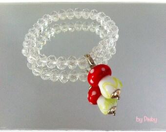 Super Sweet bracelet with glass mushroom * Lampwork lucky * Charmanhänger