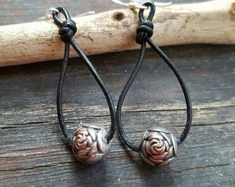 Leather hoop earrings, floral bead earrings, beaded drop earrings, festival jewelry,  ooak earrings, gift for her under 30