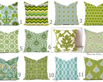 Pillows Outdoor Indoor Custom Cover -  Blue Aqua Dusty Kiwi Lime Green Aqua Moss Ivory - 16x16, 18x18 Modern Geometric Ikat