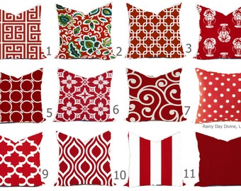 Outdoor Pillows or Indoor Custom Cover -  Red Ruby Rojo White 16x16, 18x18 Modern Geometric Nautical Ocean