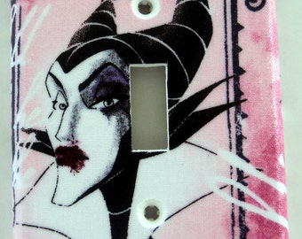 Disney Princess Villains Pink Print Single Light Switch Plate Cover