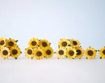 Paper Flower, 50 Yellow sunflowers. Handmade.