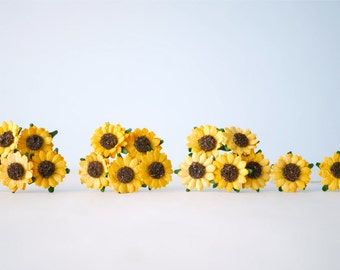 Paper Flower, 50 Yellow sunflowers. Handmade.