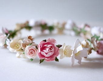 Paper Flower, Bridal flower crown, headband, pink, soft pink and white color.