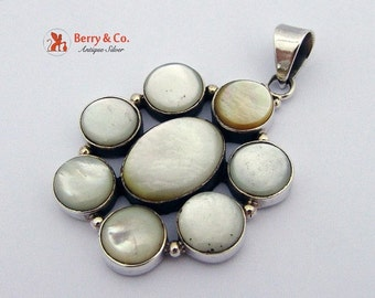 SaLe! sALe! Flower Form Large Pendant Mother Of Pearl Sterling Silver