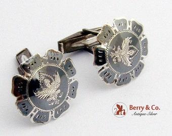 SaLe! sALe! Vintage Siamese Buddhist Niello Cuff Links Sterling Silver 1930
