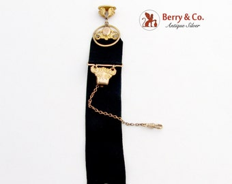 Antique Watch Chain and Fob Gold Filled Black Ribbon 1911